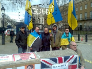 Marcus Brooks with Ukrainian protesters outside Downing Street London.